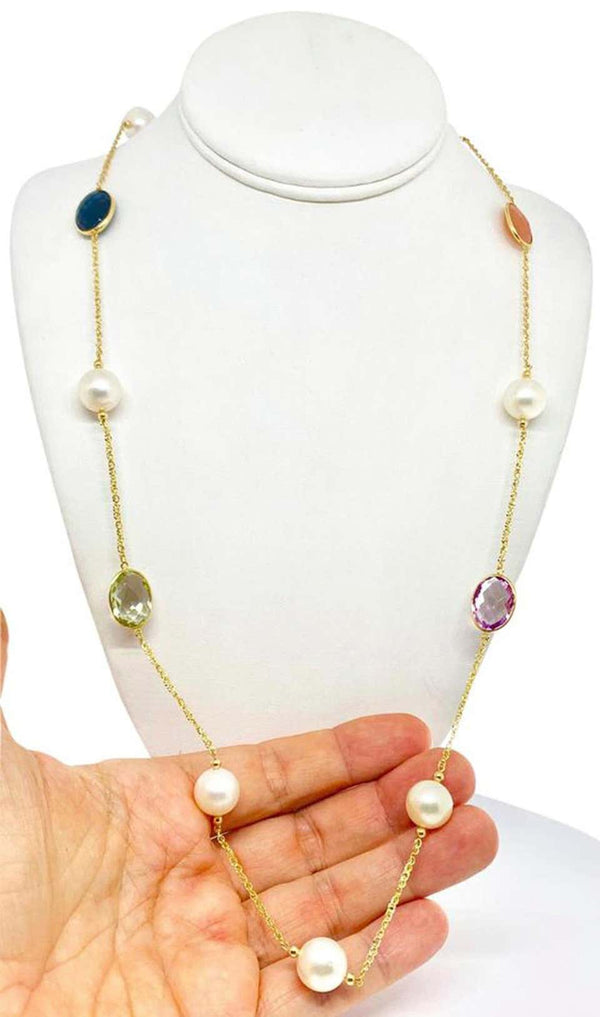 South Sea Pearl Quartz Necklace 14k Gold 12.65 mm 35