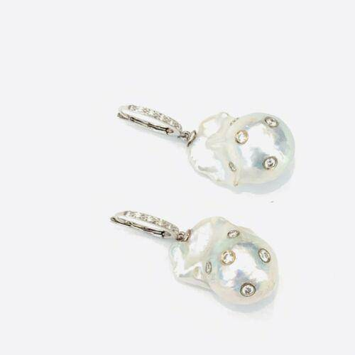 Diamond Fresh Water Pearl Earrings 14k Gold Large 13 mm Certified $4,950 915985