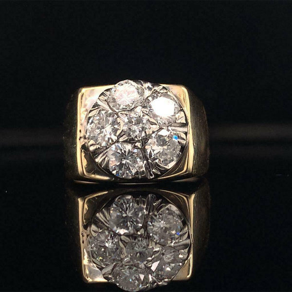 Diamond Ring Unisex 14 KT Yellow & White Gold 1.10 CT Certified $5,950 018203