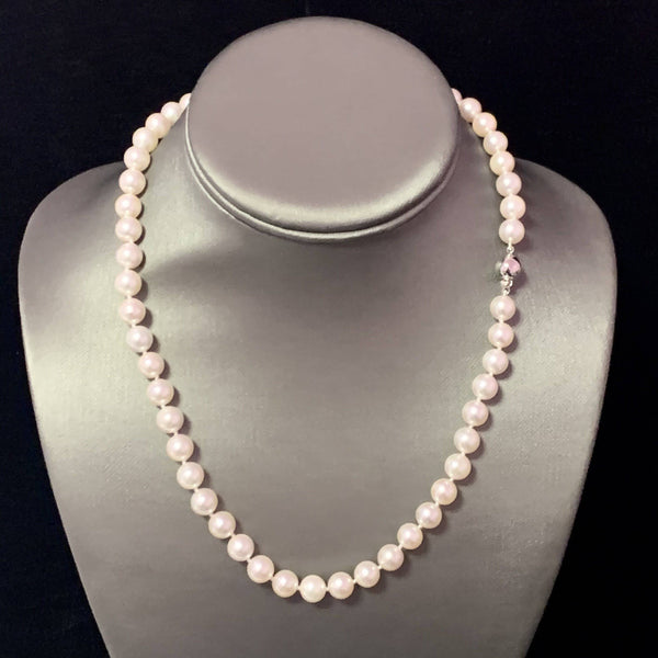 "Akoya Pearl Necklace 14k WG 8 mm 18"" Certified $3,950 111843"