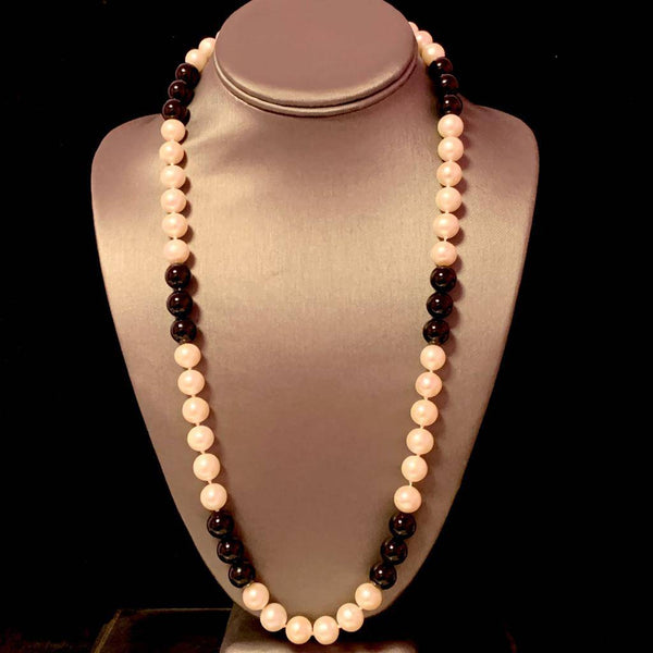"Estate Freshwater Pearl Onyx Necklace 14k Gold 25.25"" 10.25 mm Certified $2,275 711264"