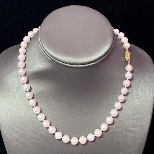"Akoya Pearl Necklace 14k Yellow Gold 16"" 8 mm Certified $3,990 110694"