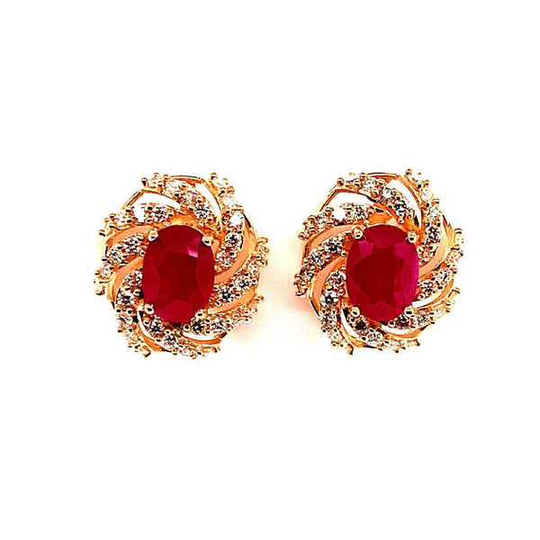 Diamond Ruby Earrings 14k Yellow Gold 3.64 TCW Certified 018671