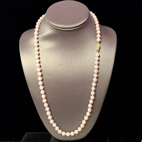 "Akoya Pearl Necklace 14k Yellow Gold 24"" 7.5 mm Certified $4,590 110702"
