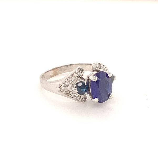 Diamond Sapphire Ring 14k Gold 3.31 TCW Women Certified $2,800 912271