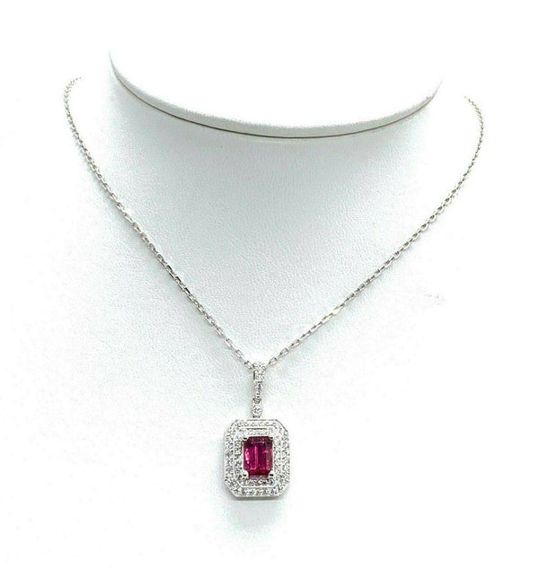 Diamond Rubellite Tourmaline Necklace 18k Gold 1.80 TCW Certified $4,950 921140