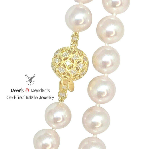 Diamond Akoya Pearl Necklace 14k Gold 8 mm 36 in Certified $9,750 010930