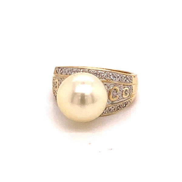Diamond South Sea Pearl Ring 14k Gold Large 11.5 mm Certified $6,950 911035