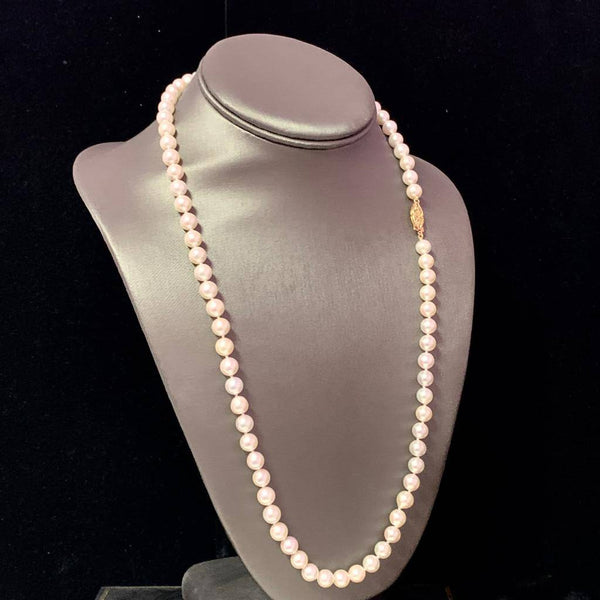 Akoya Pearl Necklace 14k Yellow Gold 24