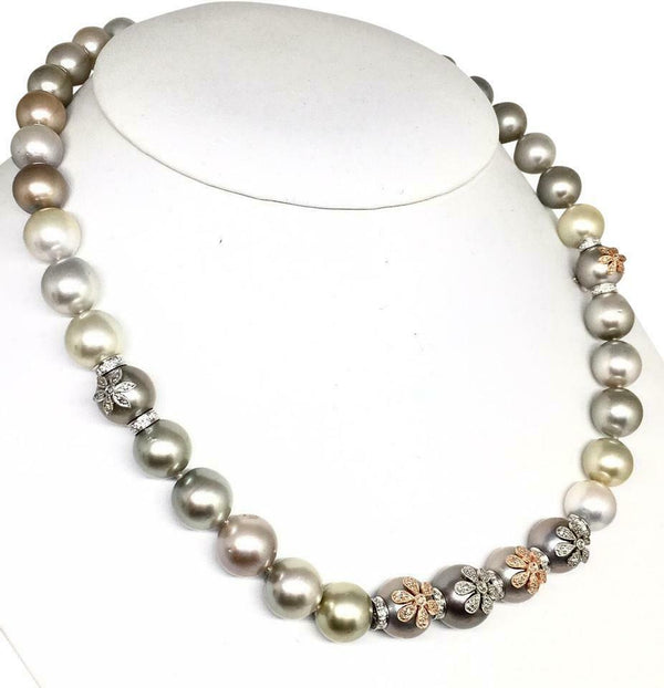 Diamond South Sea Pearl Necklace 12.80 mm 17.5