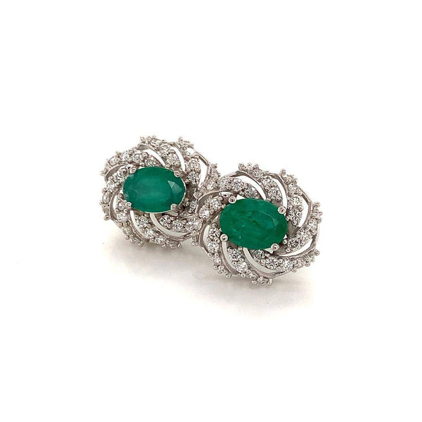 Diamond Emerald Earrings 14k W Gold 4.05 TCW Certified $6,950 018690