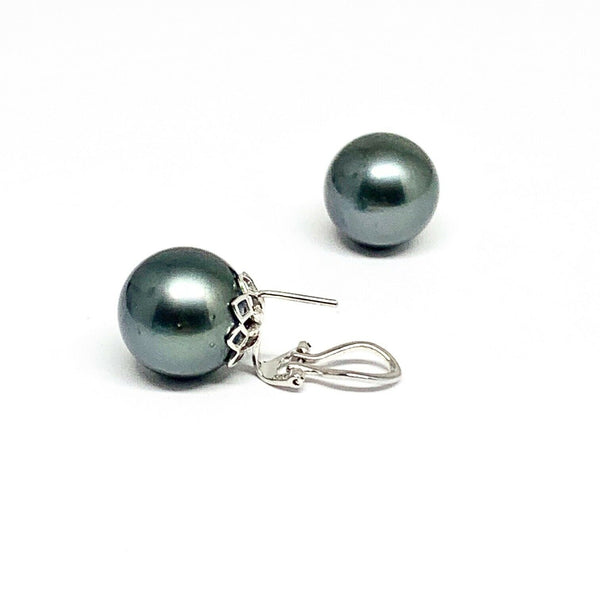 Large Tahitian Pearl Earrings 14k Gold 13.25 mm Certified $3,950 915560