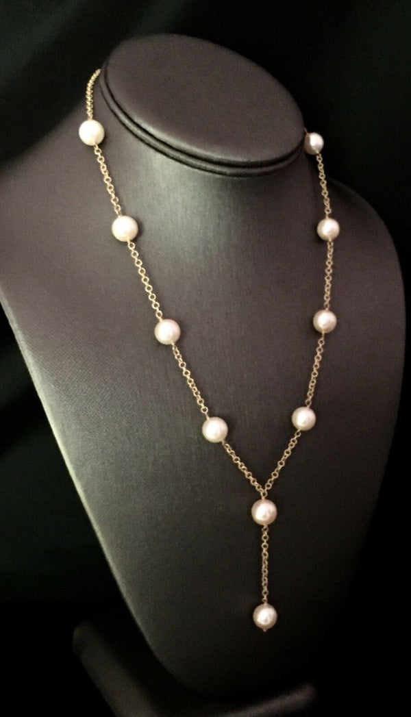 Akoya Pearl Necklace 14k Gold Large 9.5 mm 18.5