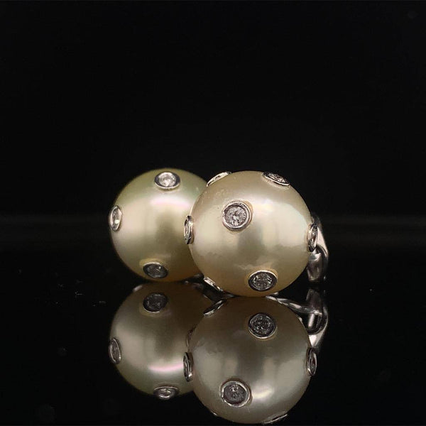Diamond South Sea Pearl Earring 14 KT Certified $4,995 015793