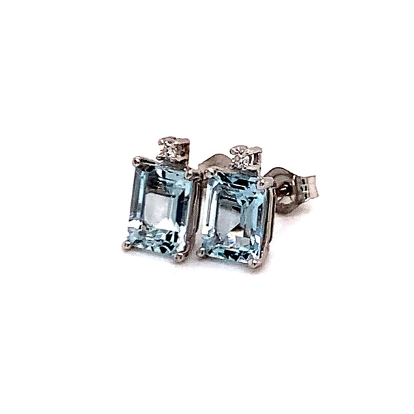Natural Aquamarine Diamond Earrings 14k WG 1.84 TCW Certified $1,490 018716