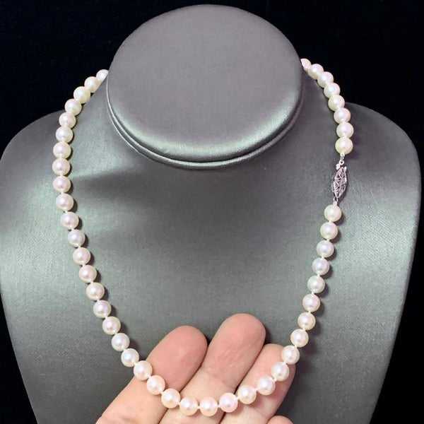 Akoya Pearl Necklace 14k White Gold 18