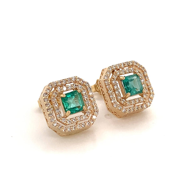 Natural Emerald Diamond Earrings 14k Gold 1.52 TCW Certified $6,950 111888
