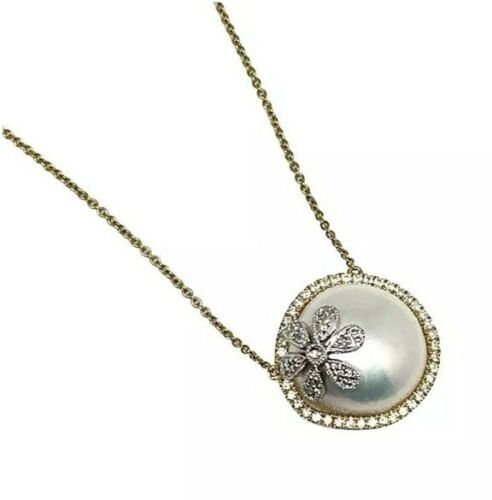 "Diamond Pearl 18k Yellow Gold Necklace 16.5"" $2,950 S1749707"