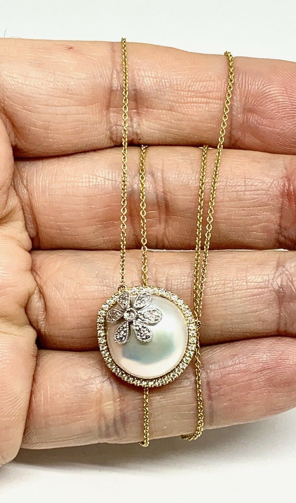 Diamond Pearl 18k Yellow Gold Necklace 16.5