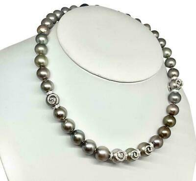 Diamond Tahitian Pearl Necklace 18k Gold 11.60 mm 16