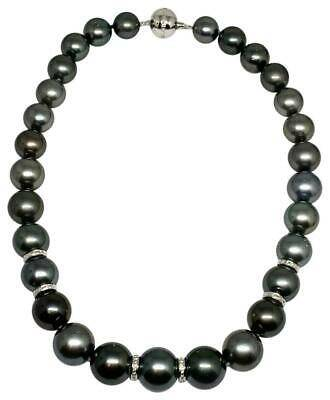Diamond Tahitian Pearl Necklace 14k Gold 16.3 mm 16.5