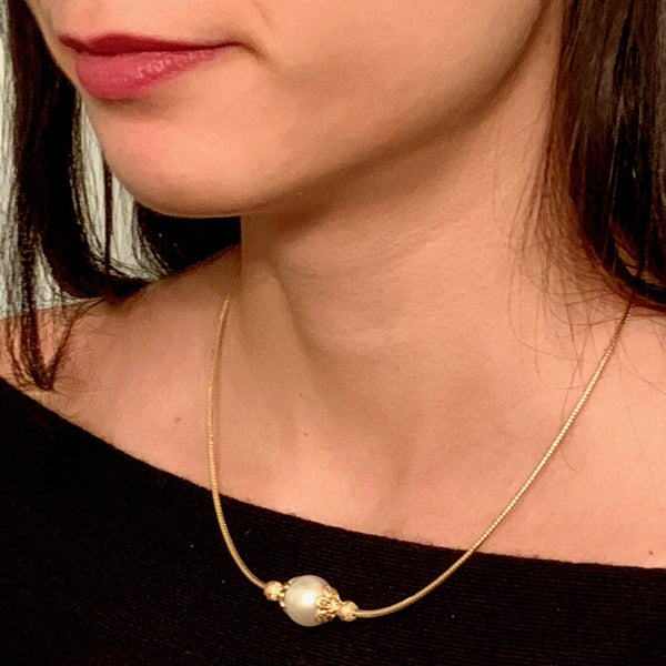 South Sea Pearl Diamond Necklace 12.88 mm 14k Gold Italy Certified $1,950 820702