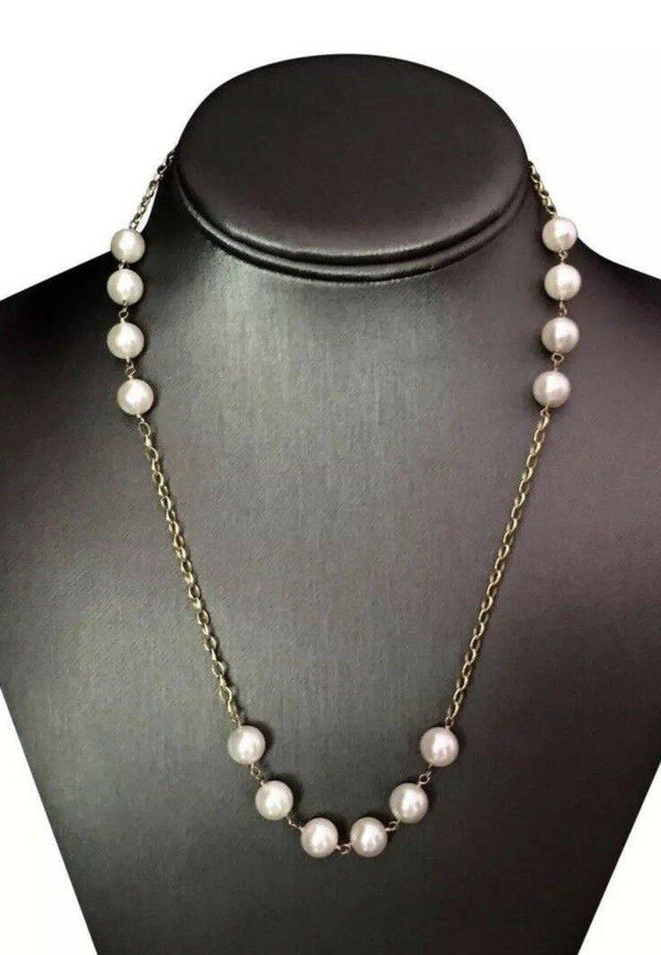"Necklace Akoya Pearl 8.10 mm 18"" 14k Gold Women Certified $2,000 717458"