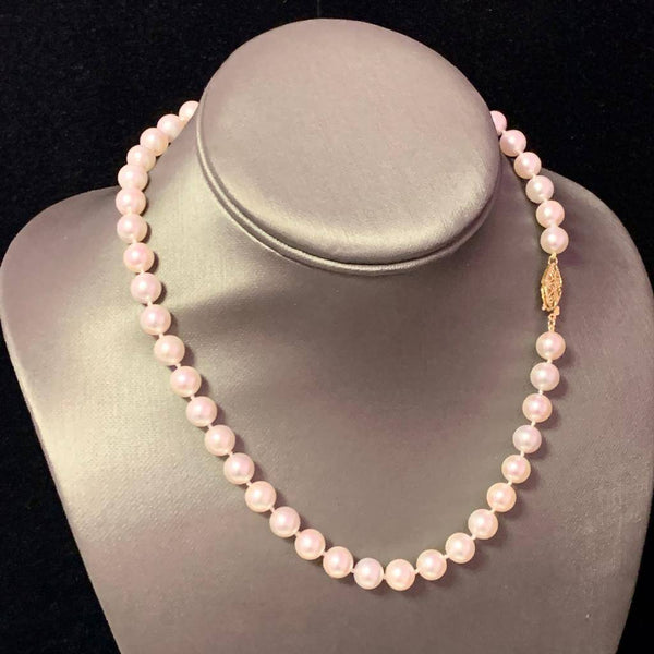 Akoya Pearl Necklace 14k Yellow Gold 16