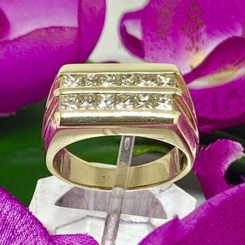 Diamond Ring 14k Gold 2 CTS Princess Cut Unisex Certified $4,200 606238