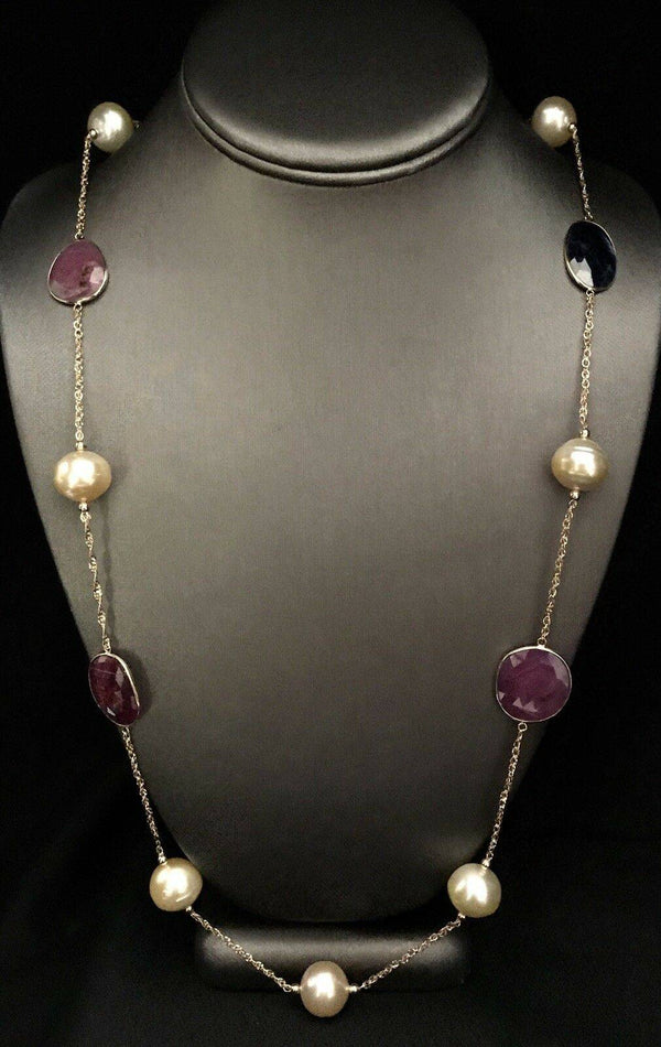 South Sea Pearl Ruby Sapphire Necklace 314k Gold Italy Certified $3,450 820427