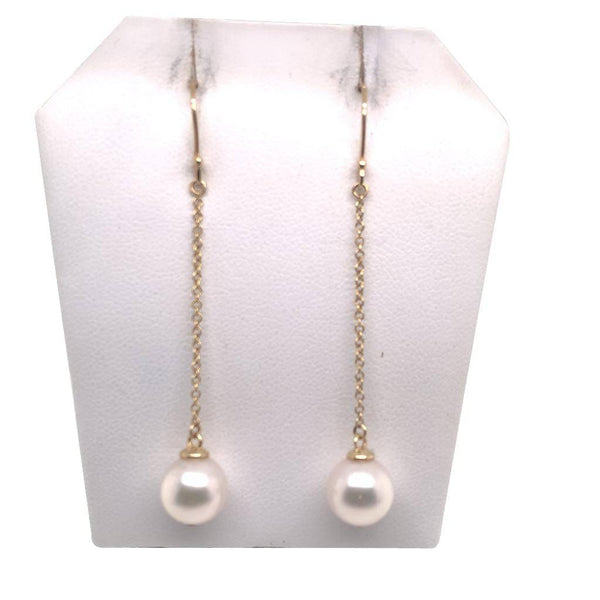 Akoya Pearl Earrings 14 KT Yellow Gold 9.03 mm Certified $1,390 017524