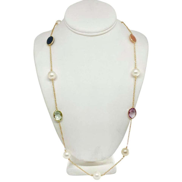 "South Sea Pearl Quartz Necklace 14k Gold 12.65 mm 35"" Certified $3,950 822109"