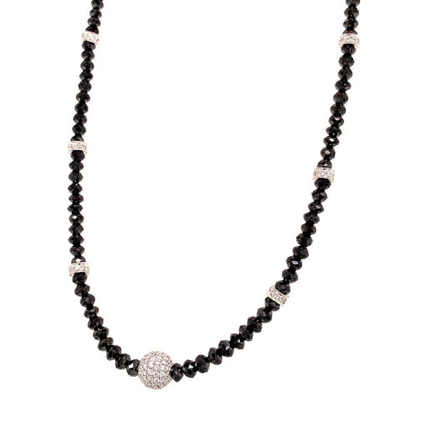 Diamond Beaded Necklace 34.15 Twc 18k Gold 16 in Certified $7,950 920472