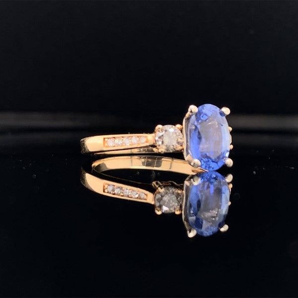 Diamond Blue Sapphire Ring 14k Gold Women Certified $4,950 915310