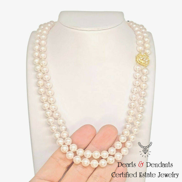 Diamond Akoya Pearl Necklace 8.mm 14k Gold 20