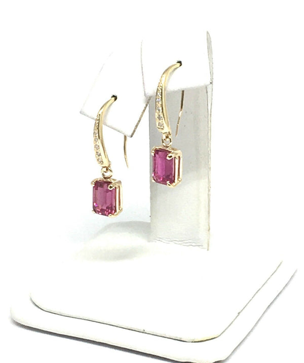 Diamond Rubellite Tourmaline Earrings 14k Gold 2.05 TCW Certified $1,690 821770