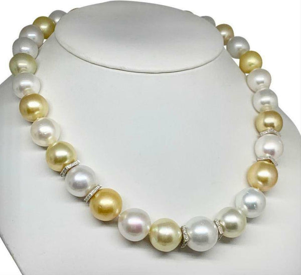 Diamond South Sea Pearl Necklace 18k Gold 16.5 mm 17