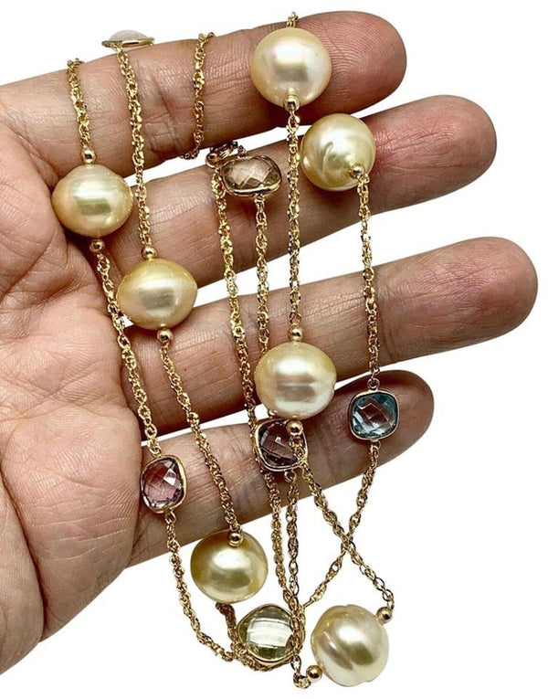 South Sea Pearl Quartz Necklace 14.30 mm 14k Gold Certified $2995 822110