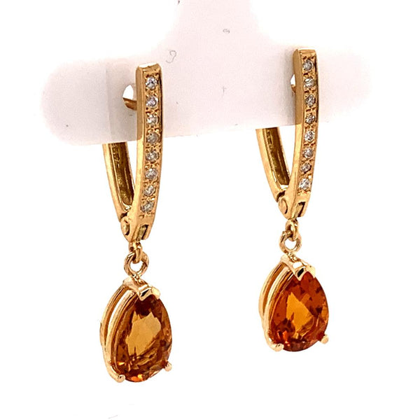 Citrine Diamond Earrings 14k Gold 3.79 TCW Women Certified $1,490 820452
