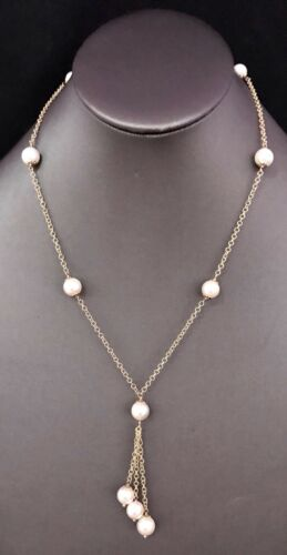 "Akoya Pearl Necklace 14k Gold 8.5-8 mm 18"" Women Certified $2,950 721470"