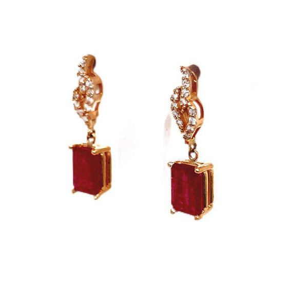 Diamond Ruby Earrings 14k Yellow Gold 2.08 TCW Certified $3,950 018672