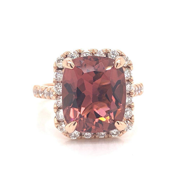 Tourmaline Rubellite Diamond Ring 14 kt 7.45 tcw Certified $6,950 013307