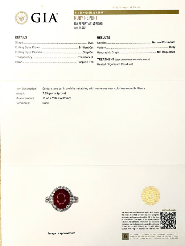 Natural Ruby Diamond Ring 14k Gold 6.5 TCW Size 5.75 GIA Certified $6,950 111871