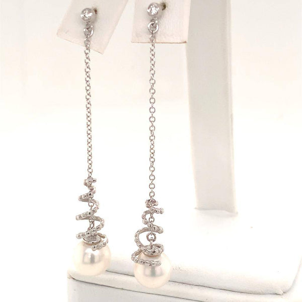 Akoya Pearl Earrings 14 KT Gold Certified $999 013431