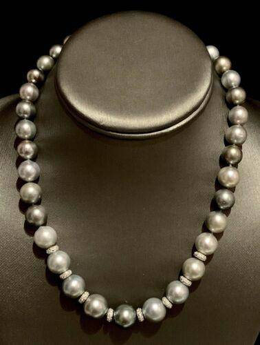 Diamond Tahitian Pearl Necklace 12.9 mm 18k Gold 17.25