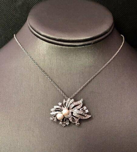 Fine Akoya Diamond 14KT 10KT Brooch Pendant Necklace ITALY Certified $5,995