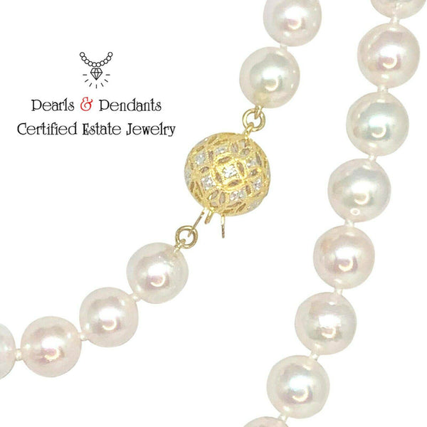 Diamond Akoya Pearl Necklace 14k Gold 8 mm 36 in Certified $9,750 010934