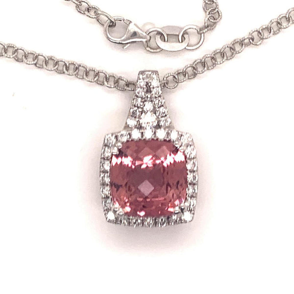 Diamond Rubellite Tourmaline Necklace 5.47 CT 18k Gold Certified $5,590 921150