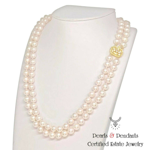 "Diamond Akoya Pearl Necklace 8.mm 14k Gold 20"" 2-Strand Certified $11,750 012364"