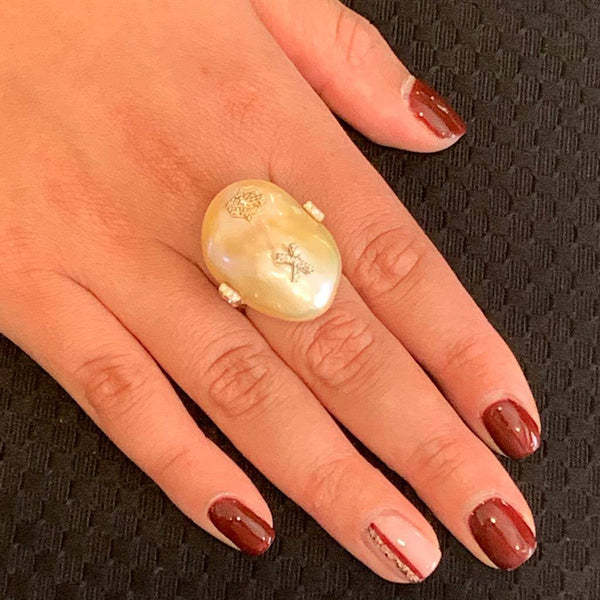Diamond Fresh Water Pearl Ring 14k Gold Baroque Women Certified $2,950 910803